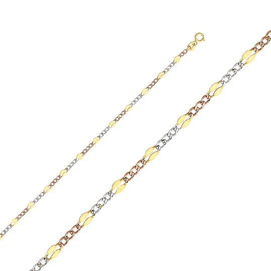 Top Gold & Diamond Jewelry 14K Tri Color 3.2 mm Stamped Figaro 3+1 Chain - 20