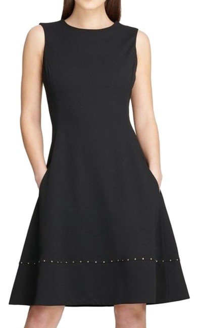 Item - Black Studded Fit and Flare Career Short Casual Dress Size 8 (M)