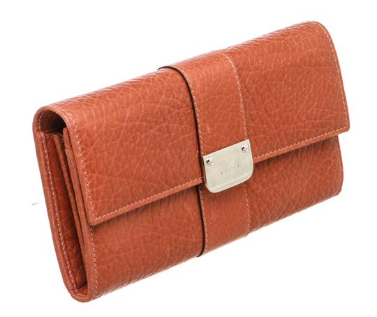 Gucci Gucci Orange Leather Long Wallet Image 1
