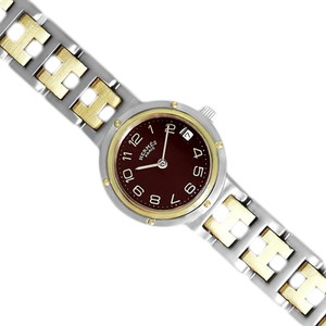 Hermès Hermes Ladies Clipper 2-Tone Quartz Watch with Dark Wine Dial - Stainl