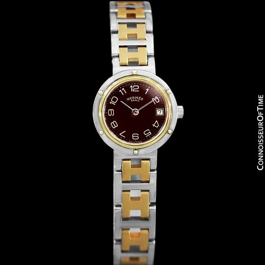 Hermès Hermes Ladies Clipper 2-Tone Quartz Watch with Dark Wine Dial - Stainl Image 1