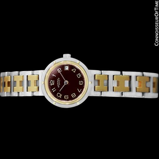 Hermès Hermes Ladies Clipper 2-Tone Quartz Watch with Dark Wine Dial - Stainl Image 2