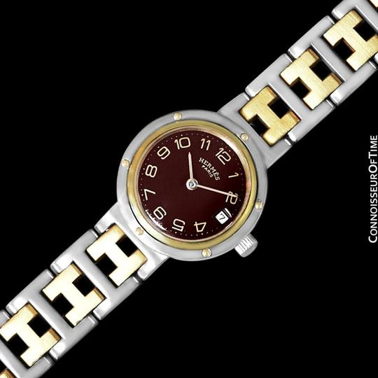Hermès Hermes Ladies Clipper 2-Tone Quartz Watch with Dark Wine Dial - Stainl Image 3