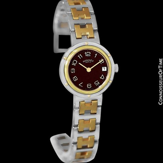 Hermès Hermes Ladies Clipper 2-Tone Quartz Watch with Dark Wine Dial - Stainl Image 4