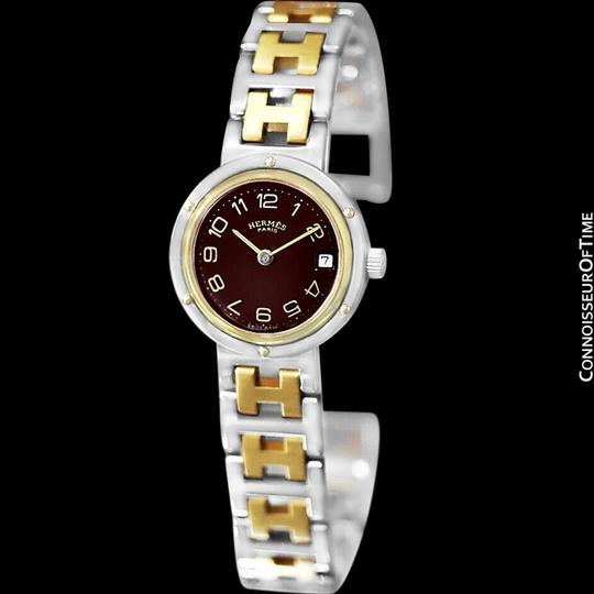 Hermès Hermes Ladies Clipper 2-Tone Quartz Watch with Dark Wine Dial - Stainl Image 5