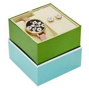 Kate Spade NEW gold-tone leather metro watch and earrings box set KSW1375BOX