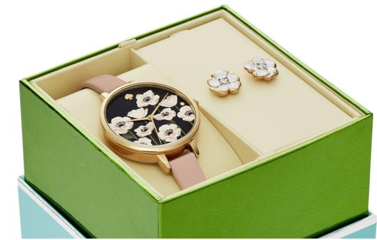Kate Spade NEW gold-tone leather metro watch and earrings box set KSW1375BOX Image 1