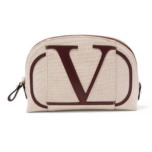 Valentino Garavani GO LOGO small leather trimmed canvas make up bag
