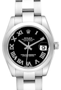 Rolex Rolex Datejust Midsize Black Dial Steel Ladies Watch 178240 Box Card