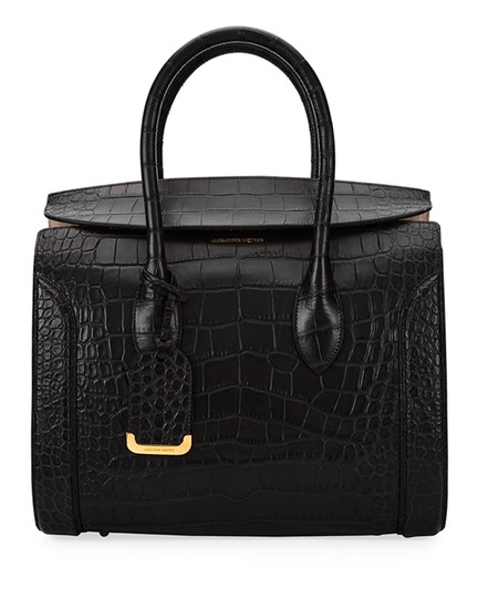 Alexander McQueen Calfskin Leather Designer Handbag Tote in Black Image 2