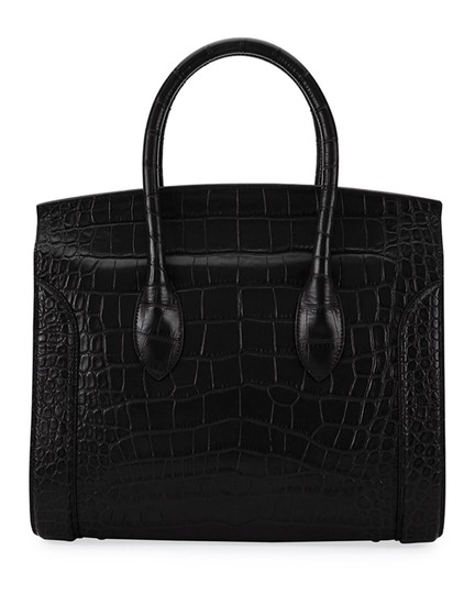 Alexander McQueen Calfskin Leather Designer Handbag Tote in Black Image 3