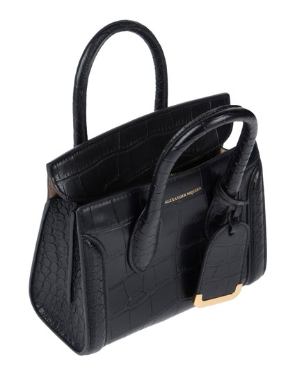 Alexander McQueen Calfskin Leather Designer Handbag Tote in Black Image 4