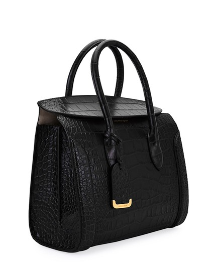 Alexander McQueen Calfskin Leather Designer Handbag Tote in Black Image 5
