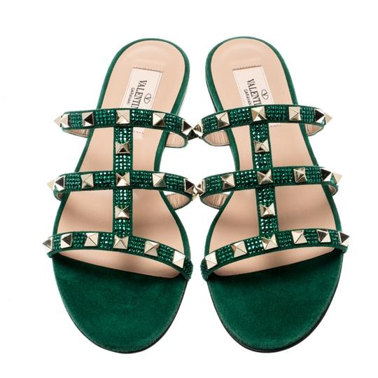 Valentino Suede Green Flats Image 1