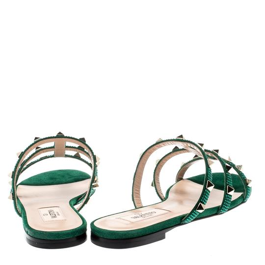 Valentino Suede Green Flats Image 2