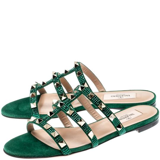 Valentino Suede Green Flats Image 3