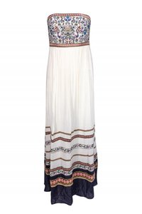 cream Maxi Dress by Alice & Olivia Gowns Embroidered Strapless
