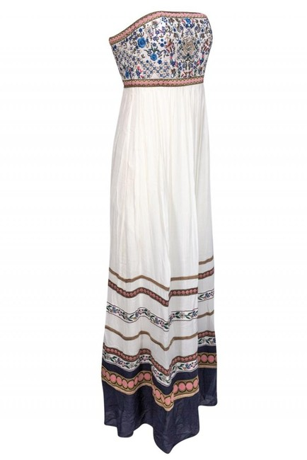 cream Maxi Dress by Alice & Olivia Gowns Embroidered Strapless Image 1