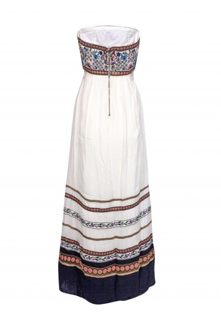 cream Maxi Dress by Alice & Olivia Gowns Embroidered Strapless Image 2