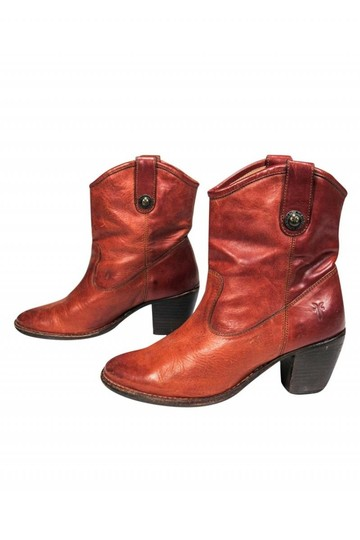 Frye Western Cognac Leather Tan Boots Image 2