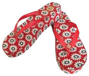 Tory Burch Nantucket Primrose Wedge Flip Flops Red/Navy/White Sandals