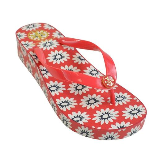 Tory Burch Nantucket Primrose Wedge Flip Flops Red/Navy/White Sandals Image 2