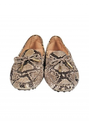 Tod's Loafers Grey Beige Snakeskin Pumps Image 1