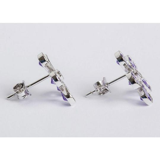 Sterling Silver Sterling Silver Colored Cubic Zirconia Flower Earrings Image 1