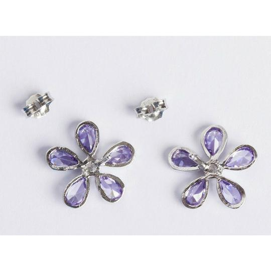 Sterling Silver Sterling Silver Colored Cubic Zirconia Flower Earrings Image 2