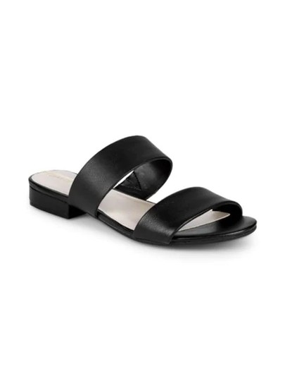 Kenneth Cole Flat Leather Open Toe Black Sandals Image 2