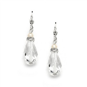 Mariell Euro Wire With Crystal Teardrop Bridal Prom Or Bridesmaids Earrings 4081e-i-cr-s