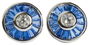 sterling silver Blue Baquette and Clear Cubic Zirconia Sterling Silver Earrings