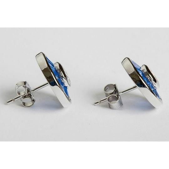 sterling silver Blue Baquette and Clear Cubic Zirconia Sterling Silver Earrings Image 1