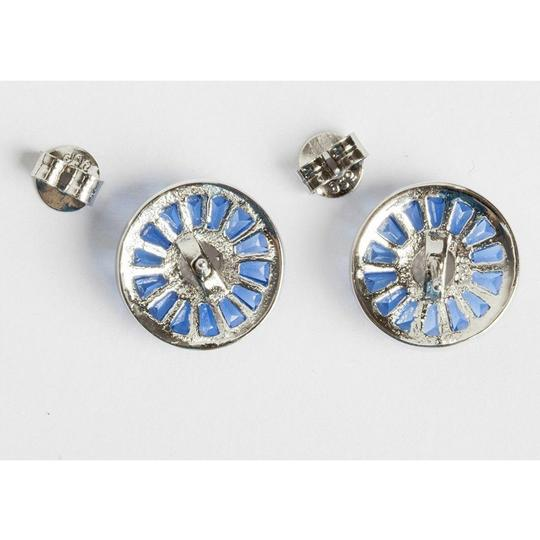 sterling silver Blue Baquette and Clear Cubic Zirconia Sterling Silver Earrings Image 2