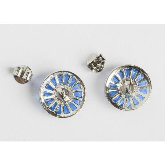 sterling silver Blue Baquette and Clear Cubic Zirconia Sterling Silver Earrings Image 3