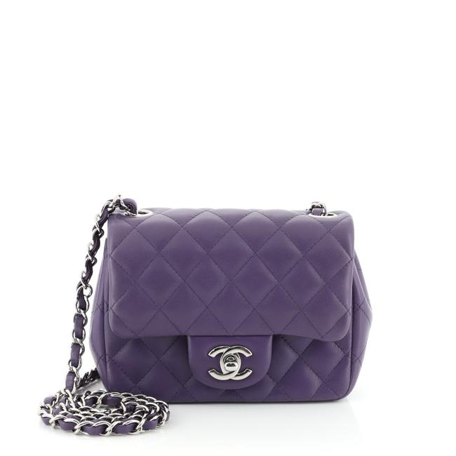Item - Classic Flap Square Classic Single Quilted Mini Purple Lambskin Leather Shoulder Bag