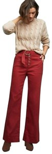 Anthropologie Wide Leg Pants Red