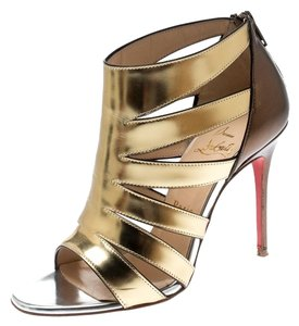 Christian Louboutin Patent Leather Strappy Open Toe Gold Sandals