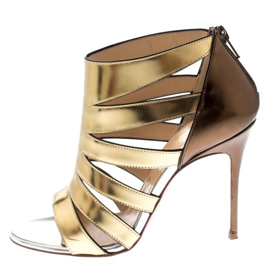 Christian Louboutin Patent Leather Strappy Open Toe Gold Sandals Image 1