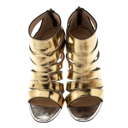 Christian Louboutin Patent Leather Strappy Open Toe Gold Sandals Image 2