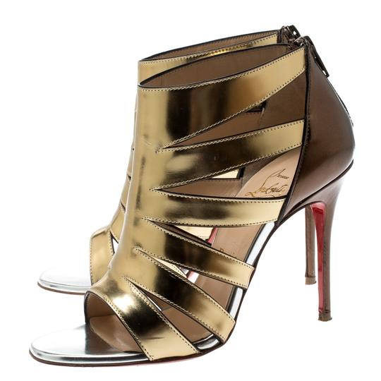 Christian Louboutin Patent Leather Strappy Open Toe Gold Sandals Image 3