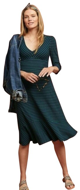 Item - Blue & Green XS New Flores Striped By Maeve Long Short Casual Dress Size 0 (XS)