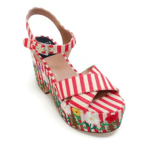 Laurence Dacade Red / White Embroidered Sandals