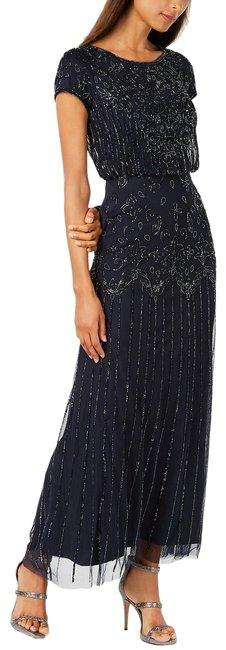 Preload https://img-static.tradesy.com/item/26117891/adrianna-papell-navy-beaded-short-sleeve-gown-long-formal-dress-size-8-m-0-1-650-650.jpg