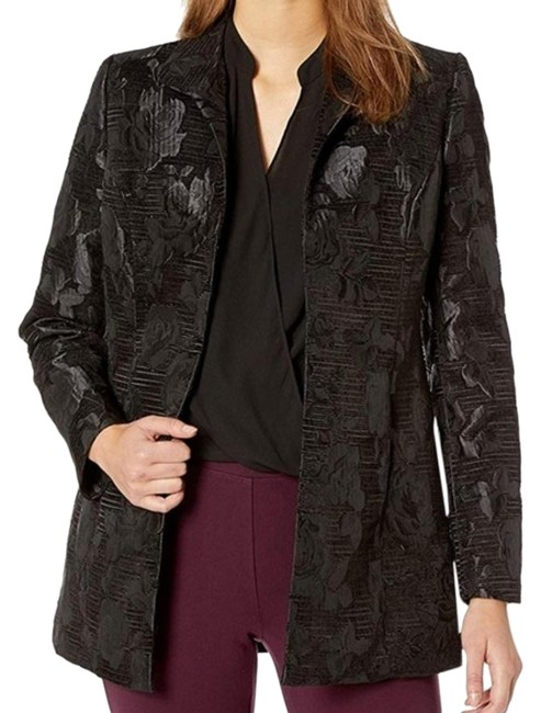 Preload https://img-static.tradesy.com/item/26117917/kasper-black-wide-lapel-velvet-jacquard-jacket-blazer-size-12-l-0-1-650-650.jpg