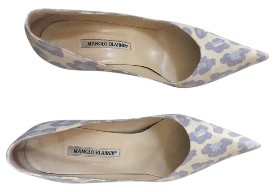 Manolo Blahnik Summer Leopard Blue and Purple Summer Blahnik Pumps 7902be