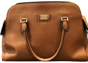 Michael Kors Gold Hardware Monochrome Leather Satchel in Brown