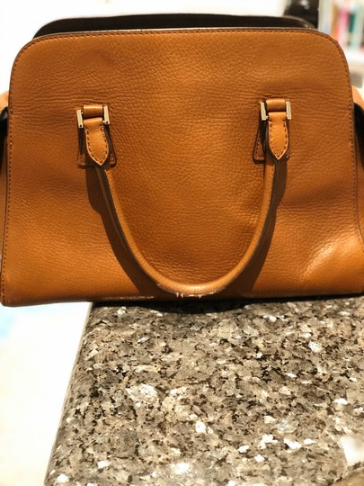Michael Kors Gold Hardware Monochrome Leather Satchel in Brown Image 1