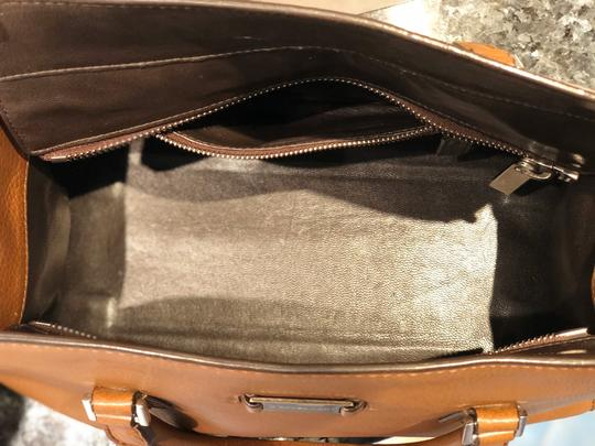 Michael Kors Gold Hardware Monochrome Leather Satchel in Brown Image 4