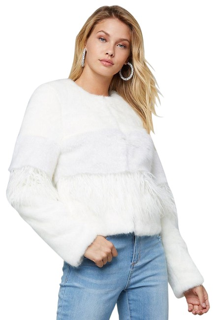 Preload https://img-static.tradesy.com/item/26118064/bebe-white-mixed-faux-jacket-pristine-2-toned-s-coat-size-4-s-0-3-650-650.jpg